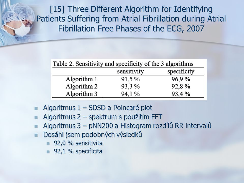 [15] Three Different Algorithm for Identifying Patients Suffering from Atrial Fibrillation during Atrial Fibrillation Free Phases of the ECG, 2007